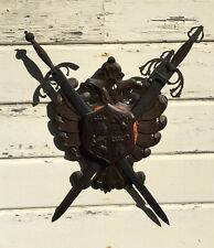 Antique Carved Wood Wall Coat of Arms of Toledo Spain Crest With Metal Swords