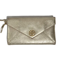 "Tory Burch Gold Leather Wallet Clutch Logo Wristlet Metallic Snap Trifold 8""x5"""