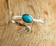 925 Solid Sterling Silver Turquoise Stone Toe Ring Adjustable Silver Toe Ring