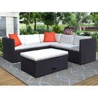 Us Pe Rattan4 Pcs Cushioned Outdoor Patio Furniture Set Sectional Garden Sofa