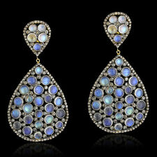 Pave Diamond 24.2ct Rainbow Moonstone Sterling Silver Dangle Earrings 14k Gold