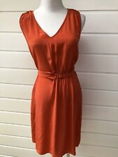 OROTON Orange Summery Sleeveless Silk Dress With Waist Tie- Size 10
