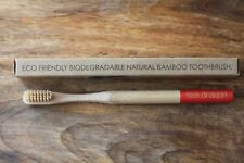 NATURAL BAMBOO TOOTHBRUSH. ADULT MEDIUM. FREE POSTAGE. COMFORTABLE ROUND HANDLE.