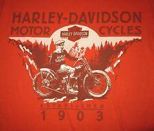 2002 Harley-Davidson SMALL orange T SHIRT St. Paul MN Est 1945 motorcycles