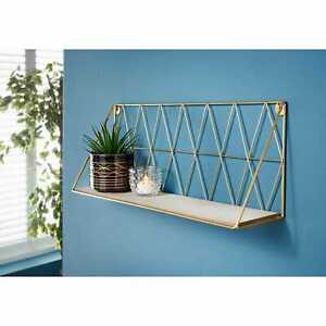 Gold Decorative Metal Wall Hanging  Wired Floating Smart Unique 48cm Shelf Style