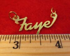 "14KT GOLD EP ""FAYE"" PERSONALIZED NAME PLATE WORD CHARM PENDANT 6137A"