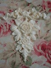 Large Bow Ribbon & Rose Floral Center Furniture Applique Architectural Pediment