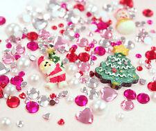 Pequeño Navidad Dorso Plano Pedrería Perla y cabinas Mix Set Decoden vendedor del Reino Unido