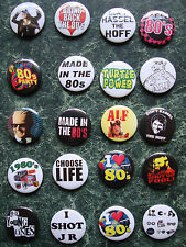 "THE 80s  20 X 1"" BUTTON BADGES SET 2 FANCY DRESS RETRO VINTAGE  1980s EIGHTIES"