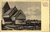 Insel Sylt Schleswig Holstein alte s/w AK ~1920/30 Kirche in Keitum mit Friedhof