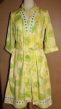 VTG Lilly Pulitzer The Lilly Shirt Dress Yellow Green Sea Shells Size Medium