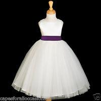 IVORY TULLE GOWN SATIN SASH BRIDESMAID FLOWER GIRL DRESS 12-18M 2 4 6 8 10