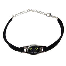 Cat Face - Closeup - Novelty Suede Leather Metal Bracelet - Black