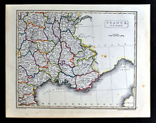 1836 Arrowsmith Map Southeast France French Riviera Marseille Cannes Lyon Toulon