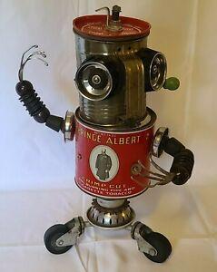 Prince Albert Can Sculpture Robot Junk Art Flour Sifter One-of-A -Kind
