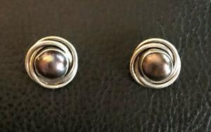 "Sterling Silver Earrings Knot Stud Peacock Plum FW Pearl 8.5mm .50"" 5g 925 #1856"
