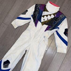 BOGNER One Piece Snow Suit Apres Ski Bib Snowsuit White VTG 80s 90s Womens LARGE