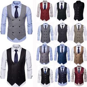 Herren Business Hochzeit Anzugweste Zweireiher Blazer Sakko Ärmellos Anzug Jacke