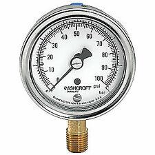 ASHCROFT Gauge,Compound,1/4 in NPT,1 Percent, 251009AW02LV/30#