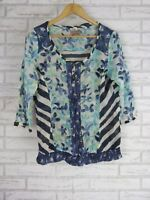 COMMA Casual Identity Top/Blouse Sz 38 Italian Designer Blue, White print