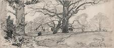 CHURCH LANDSCAPE BEAULIEU NEW FOREST Victorian Drawing 1898 GEORGE CHARLES HAITE