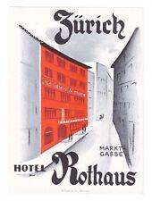Hotel Rothaus ZURICH Switzerland luggage label Kofferaufkleber - BRÜGGER  x0313