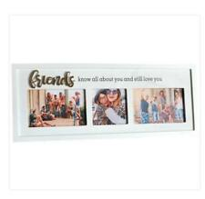Multi White Photo Frame with Raised Metal Writing for Family Friend Gift Decor H