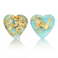 Gold Foil Natural Stone Turquoise Fashion Heart Shape Earrings Ear Stud Jewelry