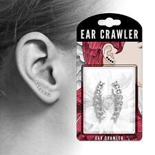 Ear Crawler / Climber 20g Earrings Pair of Crystal Set Twisted Lines