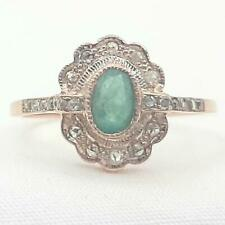 Genuine .85ctw Columbian Emerald & H-SI Diamond 14K Rose Gold 925 Silver Ring