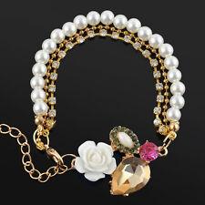 Luxury Women Ladies Girls Crystal Rose Flower Pearl Bracelet Chain Jewelry Gift