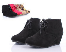 Black Lace Up Girls Wedge High Heels Kids Ankle Boots Youth Shoes Size 3