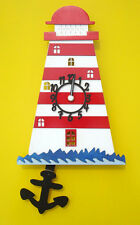 LIGHTHOUSE WOODEN CHILDRENS / KITCHEN WALL CLOCK WITH PENDULUM.NEW & BOXED.WOOD