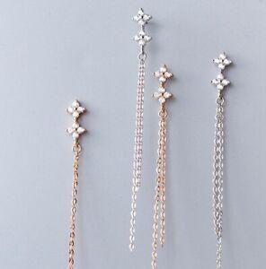 Women/ Girl 925 Sterling Silver Cute CZ Zircon Lucky Clover Stud Earring