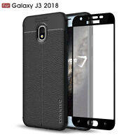 COVRWARE Samsung Galaxy J3 2018 TPU Leather Texture Case Glass Screen Protector