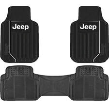 3pc Black Elite Front Rubber Floor mats Black rear Runner Mat Universal for Jeep