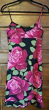 EUC Byer Too California Medium spaghetti strap Dress Floral Black Rose Pink