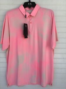 Under Armour Men's Large Iso-Chill Washout  Polo, Golf Shirt-NWT! Pink/Grey!