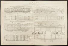 Plan ancien d'une voiture automotrice de Prusse. 1908, Trains, locomotive.