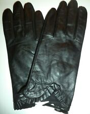 Ladies Leather {Ruffle Cuff} Gloves*,Black, XLarge