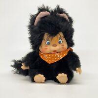 "Vintage Monchhichi Nyamy Washino Black Cat Plush Doll 7"" Sucking Thumb Hong Kong"
