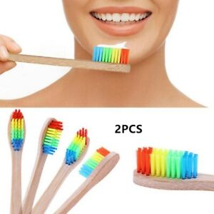 2PCS Bamboo Toothbrush Kids Children Natural Soft Dental Mouth Care Quality