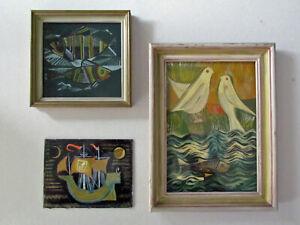 Konvolut Hinterglasmalerei Werner Rhode Worpswede Kunst_________rare vintage art