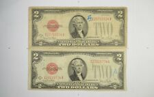 Lot (2) Red Seal $2.00 Series G & G US 1928 Notes - Currency Collection *216