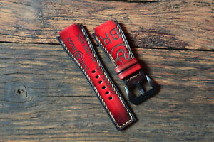 24/24mm Antique red, Full Handmade Bell & Ross Leather Watch Strap