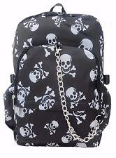 SKULL Black Crossbones Backpack Rucksack School College Goth Emo Rock Punk Bag
