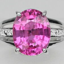 EXQUISITE! PINK TOPAZ MAIN STONE 5.9CT. & WHITE SAPP STERING 925 SILVER RING #6