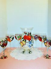 Beautiful Hand Painted Carafe Set-1 Carafe 6 Wine Glasses In Excellent Condition