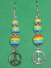 PEACE SYMBOL EARRINGS w/RAINBOW BEADS-HANDCRAFTED