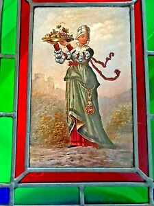 """Antique Hand Paint Glass Chatelaine Noble Figure w/ Castle~Lead Frame Window 13"""""""